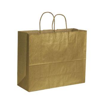 "Gold Metallic on Kraft Shoppers, 16 x 6 x 12 1/2"""