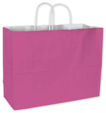 Hot Pink Cotton Candy Shoppers, 16 x 6 x 12 1/2