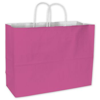 Hot Pink Color-on-White Kraft Shoppers, 16 x 6 x 12 1/2""