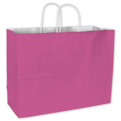 Hot Pink Color-on-White Kraft Shoppers, 16 x 6 x 12 1/2