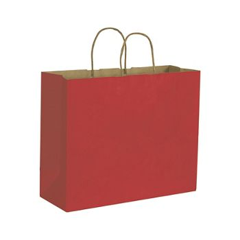 Brick Red Color on Kraft Shoppers, 16 x 6 x 12 1/2