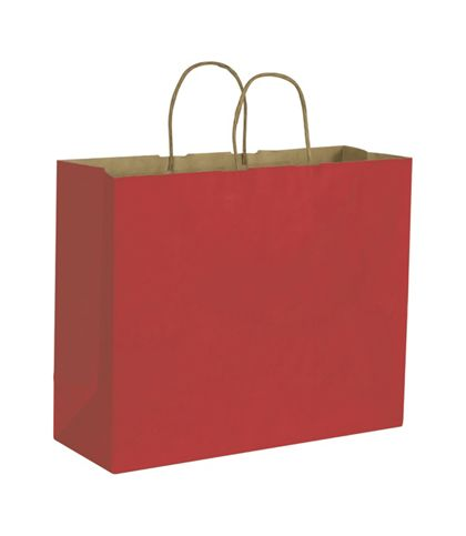 Brick Red Color on Kraft Shoppers, 16 x 6 x 12 1/2""