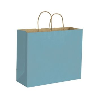Robin's Egg Color-on-Kraft Shoppers, 16 x 6 x 12 1/2