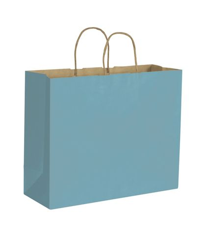 Robin's Egg Color-on-Kraft Shoppers, 16 x 6 x 12 1/2""