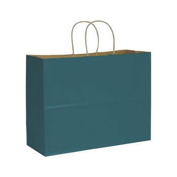 Teal Color on Kraft Shoppers, 16 x 6 x 12 1/2