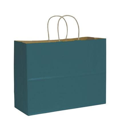 Teal Color on Kraft Shoppers, 16 x 6 x 12 1/2""