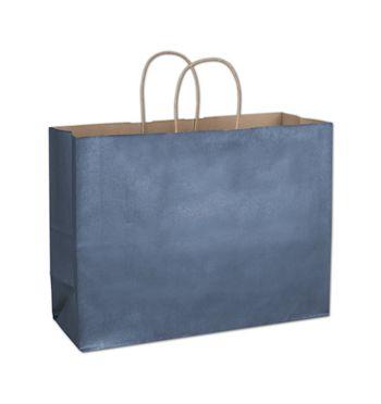 Blue Metallic-on-Kraft Shoppers, 16 x 6 x 12 1/2