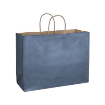 Blue Metallic-on-Kraft Shoppers, 16 x 6 x 12 1/2