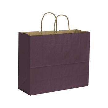 Plum Color on Kraft Shoppers, 16 x 6 x 12 1/2