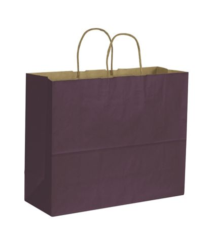 Plum Color on Kraft Shoppers, 16 x 6 x 12 1/2""