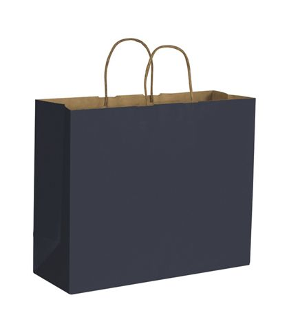 Dark Blue Color on Kraft Shoppers, 16 x 6 x 12 1/2""