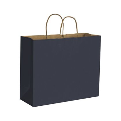 Dark Blue Color on Kraft Shoppers, 16 x 6 x 12 1/2