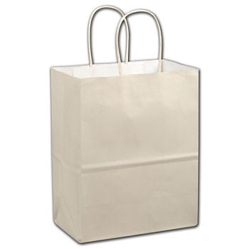 Cream Color-on-White Kraft Shoppers, 16 x 6 x 12 1/2
