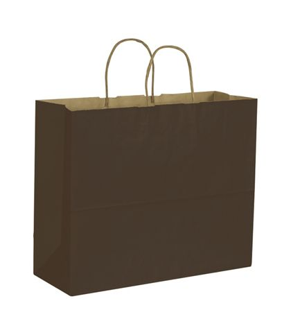 Chocolate Color on Kraft Shoppers, 16 x 6 x 12 1/2""