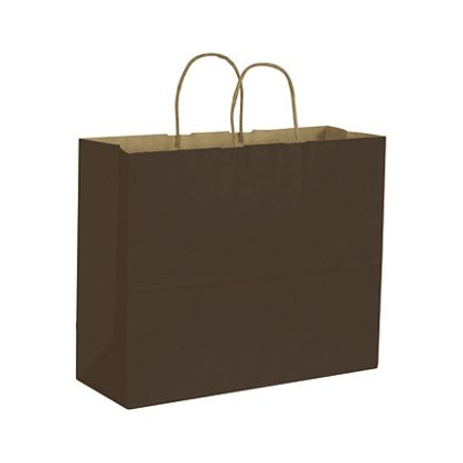 Chocolate Color on Kraft Shoppers, 16 x 6 x 12 1/2