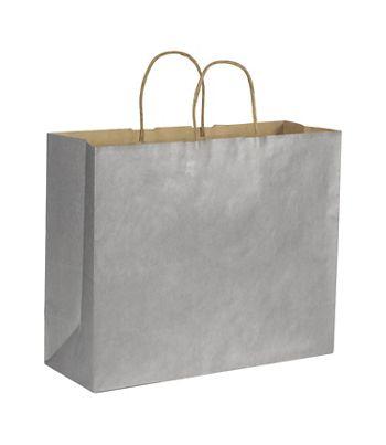 Silver Metallic on Kraft Shoppers, 16 x 6 x 12 1/2