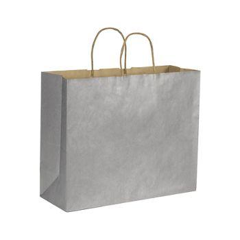 "Silver Metallic on Kraft Shoppers, 16 x 6 x 12 1/2"""