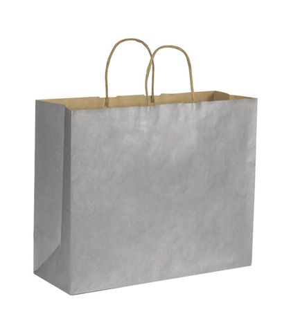 Silver Metallic on Kraft Shoppers, 16 x 6 x 12 1/2""