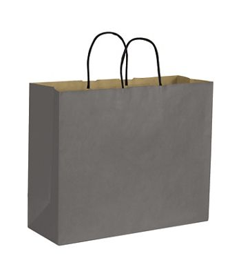 Storm Grey Color-on-Kraft Shoppers, 16 x 6 x 12 1/2