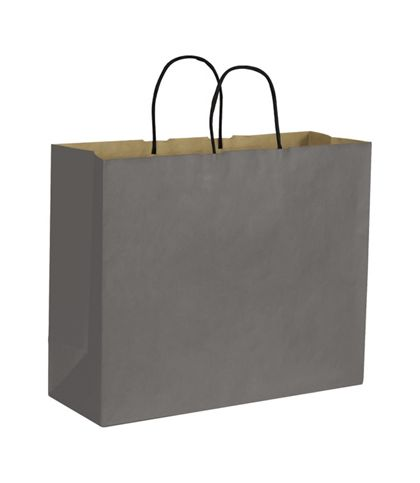 Storm Grey Color-on-Kraft Shoppers, 16 x 6 x 12 1/2""