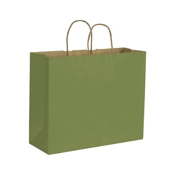 Rainforest Green Color-on-Kraft Shoppers, 16 x 6 x 12 1/2
