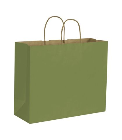 Rainforest Green Color-on-Kraft Shoppers, 16 x 6 x 12 1/2""