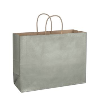 Sage Metallic-on-Kraft Shoppers, 16 x 6 x 12 1/2