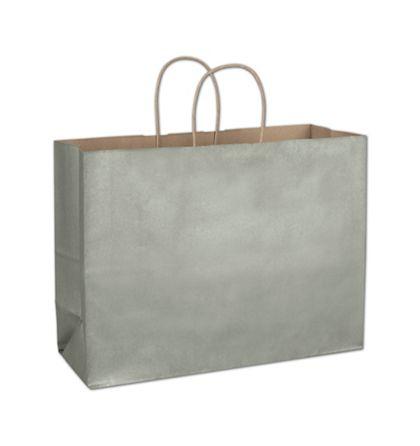 "Sage Metallic-on-Kraft Shoppers, 16 x 6 x 12 1/2"""