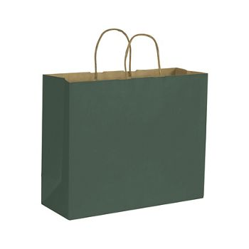 Forest Green Color-on-Kraft Shoppers, 16 x 6 x 12 1/2