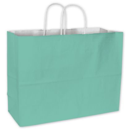 Aqua Color-on-White Kraft Shoppers, 16 x 6 x 12 1/2