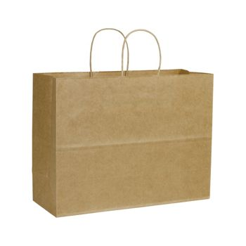 Kraft Varnish Stripe Shoppers, 16 x 6 x 12 1/2