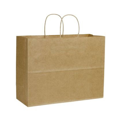 Kraft Varnish Stripe Shoppers, 16 x 6 x 12 1/2