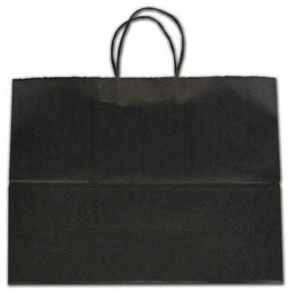 "Black Color-on-Kraft Shoppers, 16 x 6 x 12 1/2"""