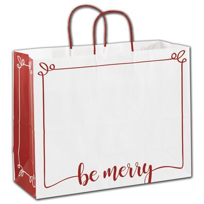 """Be Merry Shoppers, 16 x 6 x 12 1/2"""""""