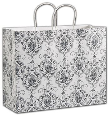 Damask Shoppers, 16 x 6 x 12 1/2