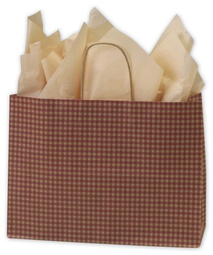 """Red Gingham Printed Shoppers, 16 x 6 x 12 1/2"""""""