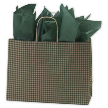 Green Gingham Printed Shoppers, 16 x 6 x 12 1/2