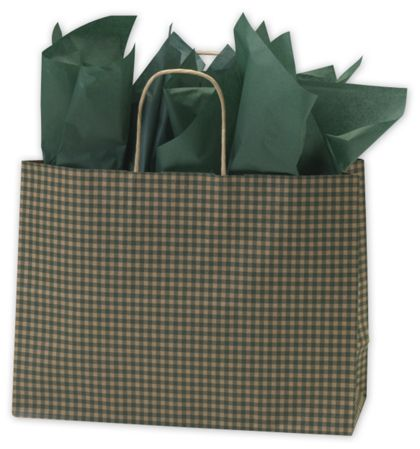 Green Gingham Printed Shoppers, 16 x 6 x 12 1/2""