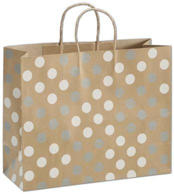 Silver & White Dots on Kraft Shoppers, 16 x 6 x 12 1/2