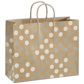 Silver & White Dots on Kraft Shoppers, 16 x 6 x 12 1/2