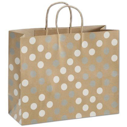 """Silver & White Dots on Kraft Shoppers, 16 x 6 x 12 1/2"""""""