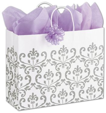 Silvery Chic Shoppers, 16 x 6 x 12 1/2