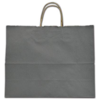 "Slate Gray Color-on-Kraft Shoppers, 16 x 6 x 12 1/2"""