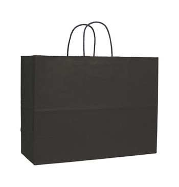 Black Varnish Stripe Shoppers, 16 x 6 x 12 1/2