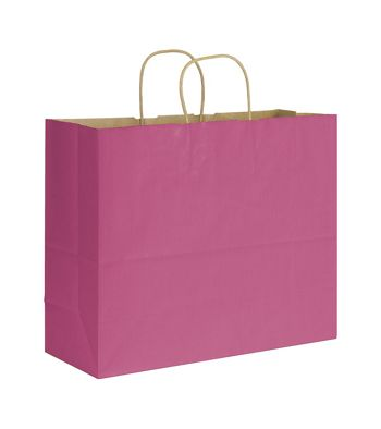 Cerise Varnish Stripe Shoppers, 16 x 6 x 12 1/2