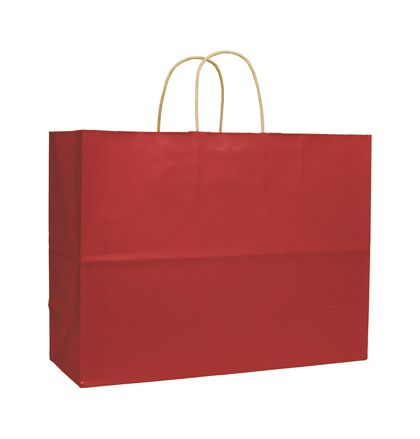 Red Varnish Stripe Shoppers, 16 x 6 x 12 1/2""