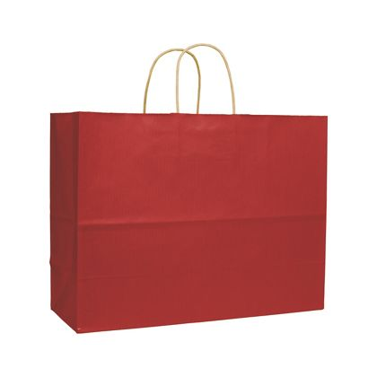Red Varnish Stripe Shoppers, 16 x 6 x 12 1/2