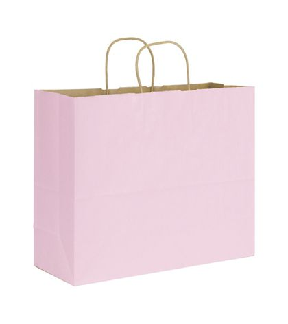 Light Pink Varnish Stripe Shoppers, 16 x 6 x 12 1/2""