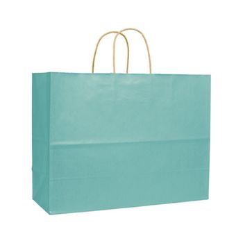 Seafoam Varnish Stripe Shoppers, 16 x 6 x 12 1/2