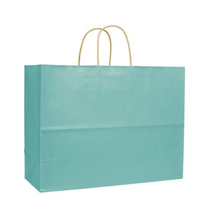 Seafoam Varnish Stripe Shoppers, 16 x 6 x 12 1/2""